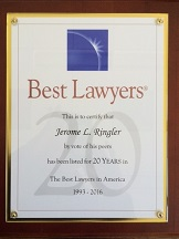 Best Lawyers recognizes Jerome Ringler for 20 consecutive years